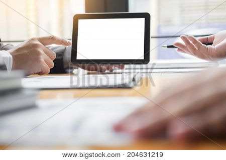 businessman presenting something at the seminar using tablet at the office Audit concept at working.