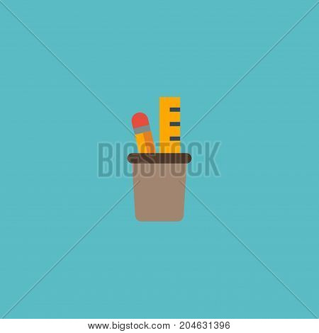 Flat Icon Pencil Stand Element. Vector Illustration Of Flat Icon Pen Holder Isolated On Clean Background
