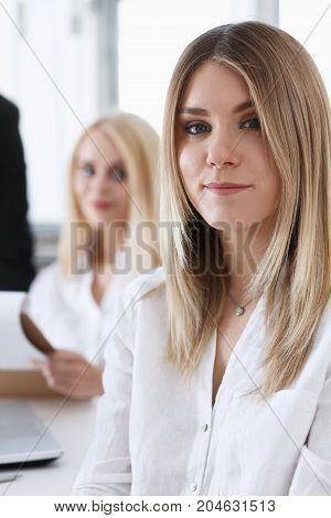 Beautiful Smiling Businesswoman Portrait At Workplace