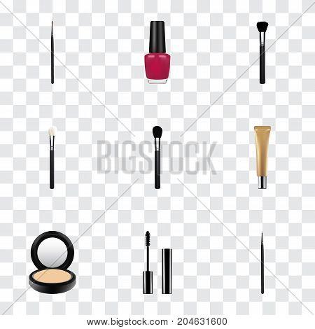 Realistic Brush, Eyelashes Ink, Powder Blush And Other Vector Elements