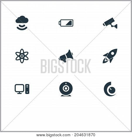 Elements Cctv, Cloud Signal, Web Cam And Other Synonyms Camera, Bullhorn And Rocket.  Vector Illustration Set Of Simple Hitech Icons.