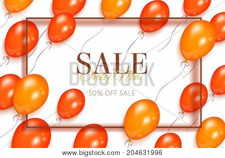 Rectangular sale banner, flyer design with orange balloons and frame for text, vector illustration on white background. Sale banner, flyer, poster template with shiny balloons and rectangular frame
