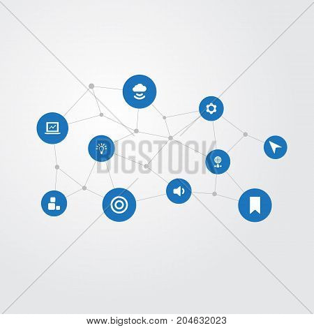 Elements Light, Globe, Goal And Other Synonyms Cogwheel, Volume And Laptop.  Vector Illustration Set Of Simple Application Icons.