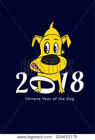 2018 Happy New Year greeting card. Yellow dachshund in cartoonish style with white figures on a dark blue background. Chinese New Year of the earth dog concept. Vector illustration
