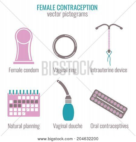 Female contraception methods icons. Vector illustration in medical colour isolated on a white background. Flat pictograms collection.