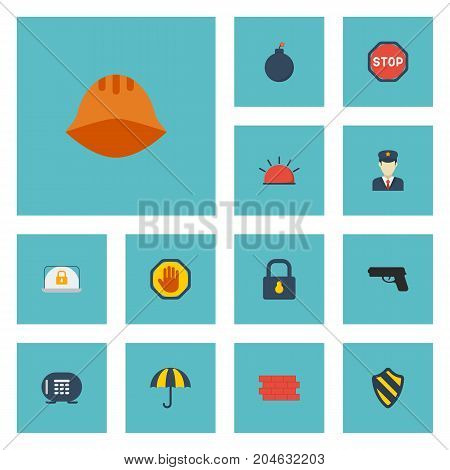 Flat Icons Parasol, Road Sign, Hardhat And Other Vector Elements