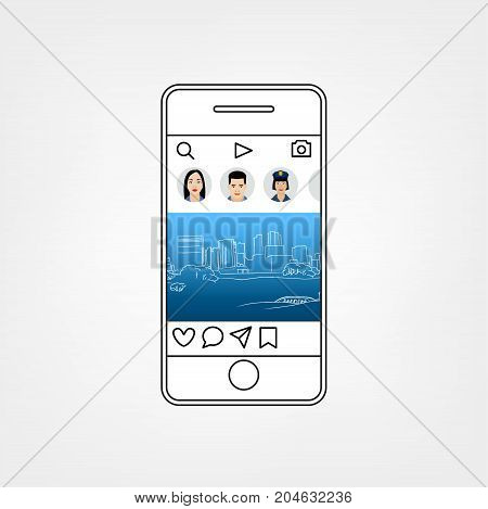 Abstract social network template vector illustration. Interface Concept. Two smartphones isolated on a light background.
