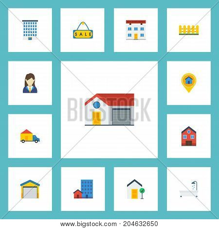 Flat Icons Buildings, Real Estate, Choice And Other Vector Elements