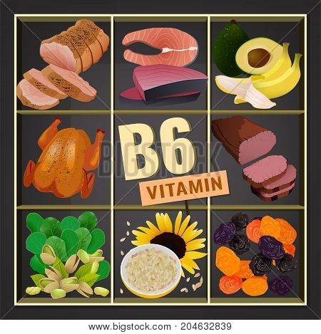 High vitamin B6 Foods. Healthy fruits, berries, nuts, fish, meat and vegetables. Vector illustration in bright colours on a dark grey background.