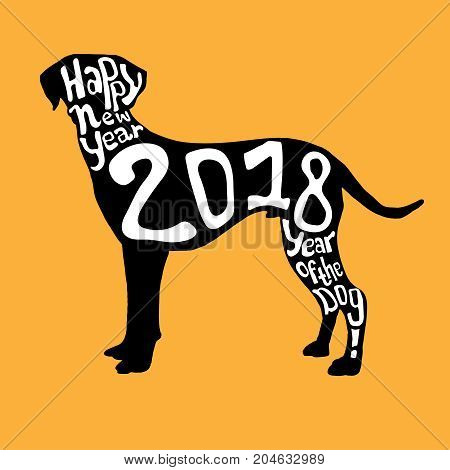 2018 Happy New Year greeting card design. Black and white hound in cartoonish style with unique lettering on a bright yellow background. Chinese New Year of the dog. Vector illustration