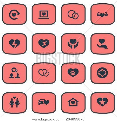 Elements Decorate, Laptop, Palm And Other Synonyms Rings, Wedding And Global.  Vector Illustration Set Of Simple Feelings Icons.