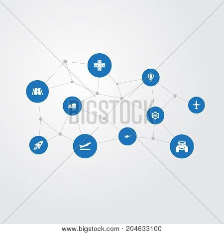 Elements Intersection, Cement Machine, Takeoff And Other Synonyms Rocket, Aerocab And Street.  Vector Illustration Set Of Simple Transport Icons.