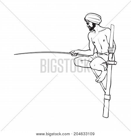 vector sketch cartoon local indian man in handscarf pagri or turban fishing by wooden stick sitting at wooden stilt pillar. Traditionally dressed male character, hand drawn sri-lanka , india symbols
