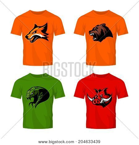 Furious fox, bear, snake and boar sport vector logo concept set isolated on white background.  Street wear mascot team badge design. Premium quality wild animal emblem t-shirt tee print illustration.