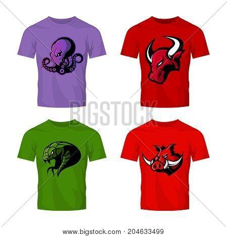 Furious octopus, bull, snake and boar sport vector logo concept set isolated on white.  Street wear mascot team badge design. Premium quality wild animal emblem t-shirt tee print illustration.