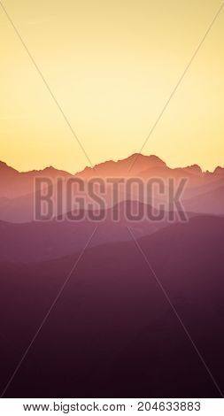 An Inspiring Mountain Landscape In Tatry, Slovakia. Vivid, Gradient Scenery With Perspective In Purp