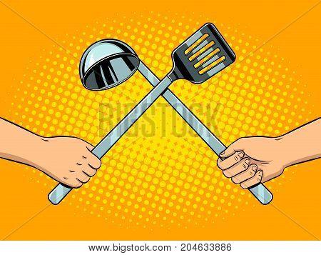 Battle on kitchen utensils pop art retro vector illustration. Comic book style imitation.