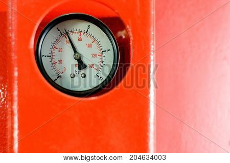 Closeup Of Manometer In A Boiler Room