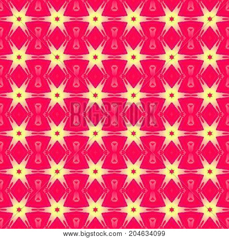 Abstract geometric seamless background. Regular stars pattern red, yellow and pink.