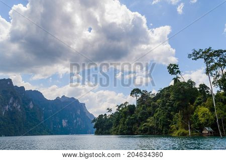 Beautiful Mountains Lake River Sky And Natural Attractions In Ratchaprapha Dam At Khao Sok National