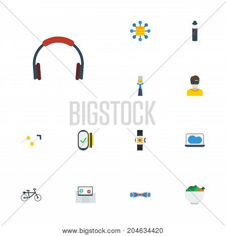 Flat Icons Storage, Payment, Hoverboard And Other Vector Elements