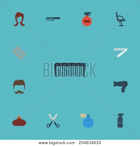 Flat Icons Comb, Hairbrush, Blow-Dryer And Other Vector Elements