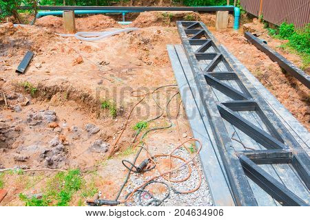steel frame of roof On the floor in construction working site