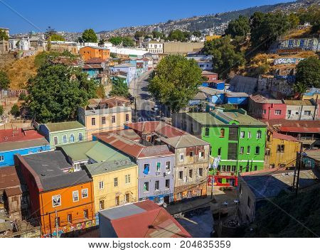 Colorful old houses in valparaiso city Chile