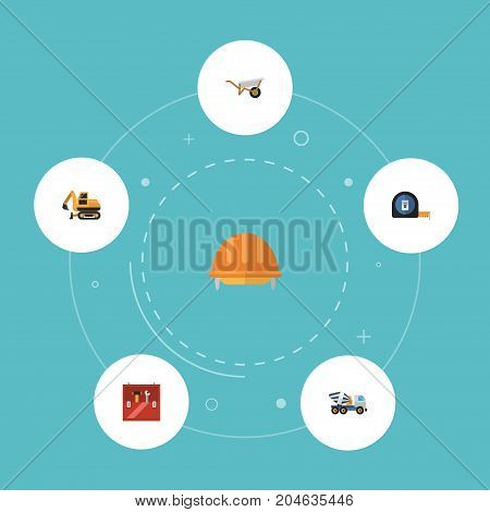 Flat Icons Roll Meter, Cement Blender, Hardhat And Other Vector Elements