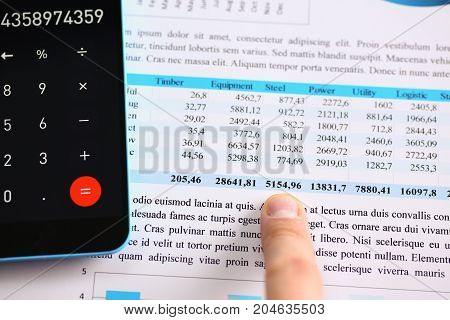Smartphone Calculator And Financial Statistics On Infographics