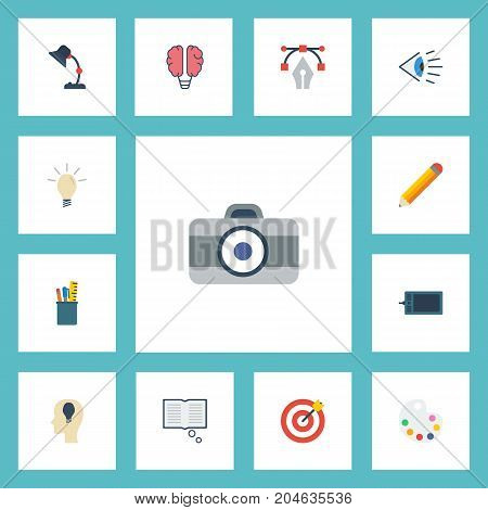 Flat Icons Bulb, Artist, Idea And Other Vector Elements