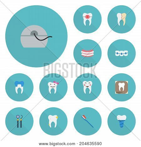 Flat Icons Halitosis, Hygiene, Children Dentist And Other Vector Elements