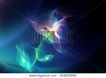 Digitally generated image of abstract flower made of light streaks