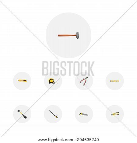 Realistic Plumb Ruler, Handle Hit, Forceps Vector Elements