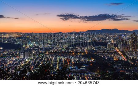 Seoul city and Downtown skyline in Seoul South Korea