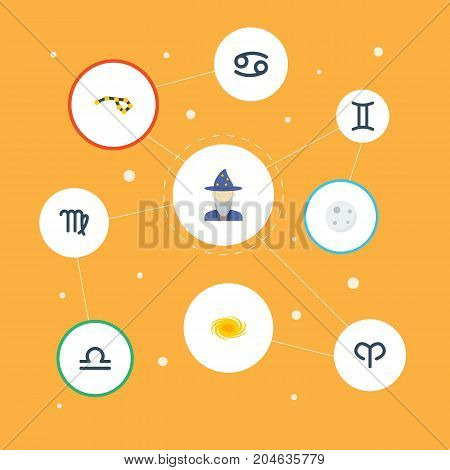 Flat Icons Virgin, Lunar, Ram And Other Vector Elements