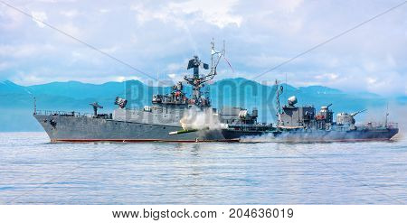 Russian warship going along the coast of Pacific ocean