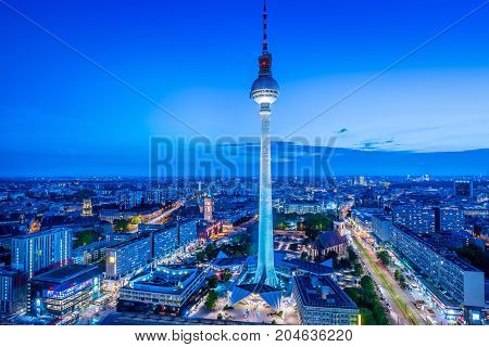 panoramic view at the berlin city center to night