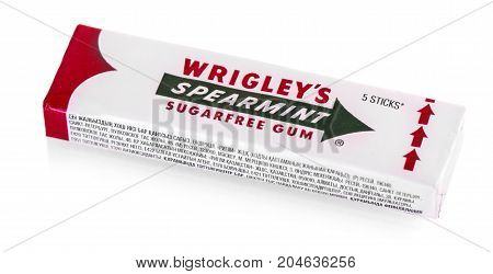 CHISINAU MOLDOVA -SEPTEMBER 13 2017: Spearmint chewing gum made by Wrigley isolated on white
