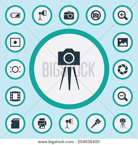Elements Magnifying, Film Strip, Rim And Other Synonyms Printer, Card And Picture.  Vector Illustration Set Of Simple Photographic Icons.