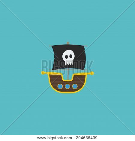 Flat Icon Ship Element. Vector Illustration Of Flat Icon Vessel Isolated On Clean Background