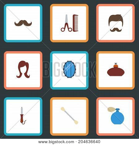 Flat Icons Hairdresser, Moustache, Deodorant And Other Vector Elements