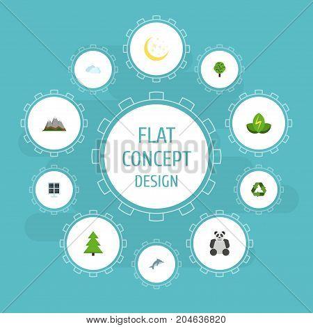 Flat Icons Landscape, Eco Energy, Wood Vector Elements