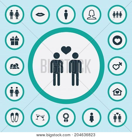 Elements Boy, Surprise, Gay And Other Synonyms Wineglass, Heart And Homosexual.  Vector Illustration Set Of Simple Beloved Icons.