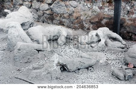A victim in Pompeii of the Vesuvius eruption of 79 BC