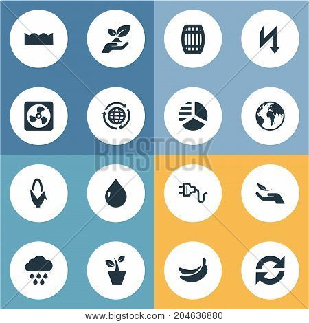 Elements Planet, Soil, Houseplant And Other Synonyms Earth, Keg And Oil.  Vector Illustration Set Of Simple Energy Icons.