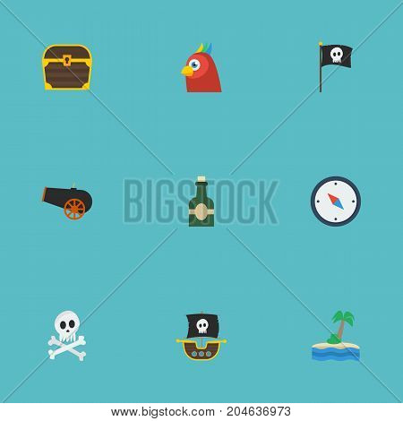 Flat Icons Palm, Cranium, Bottle And Other Vector Elements