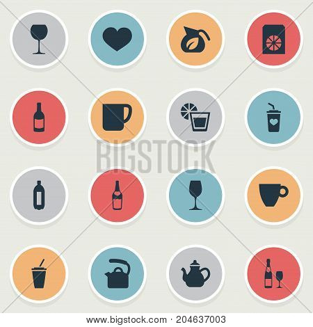 Elements Favorite, Jug, Soft Drink And Other Synonyms Beverage, Herbal And Favorite.  Vector Illustration Set Of Simple Beverage Icons.