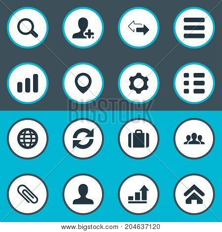 Elements Suitcase, Growth Chart, Staff And Other Synonyms Checklist, Contact And Briefcase.  Vector Illustration Set Of Simple Interaction Icons.