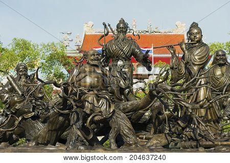 PATTAYA, THAILAND - MAY 29, 2009: Exterior of the bronze statues at the Anek Kusala Sala (Viharn Sien) Chinese temple in Pattaya, Thailand.